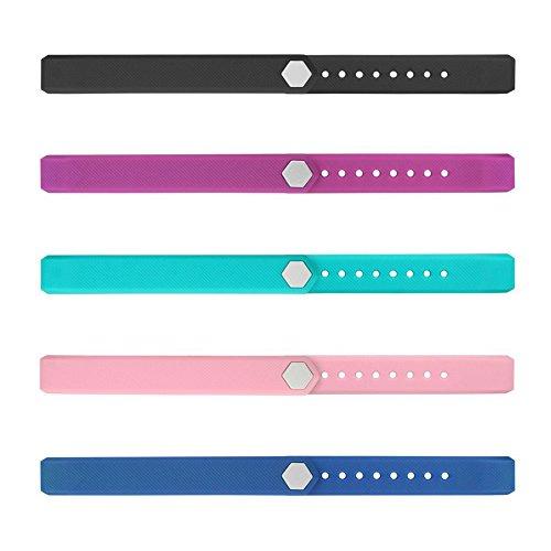 YFish Conjunto Correas de Reemplazo Silicona Suave Longitud Ajustable para Pulsera Deportiva ID115, Colores a Opción – Negro+ Violeta+ Azul+ Rosa+ Azul verde