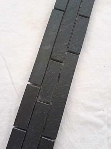 Mosaik Bordüre Schiefer Anthrazit 30x5 cm matt Naturstein Fliesen Schwarz B017