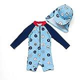 BONVERANO Baby Junge EIN stück Langärmelige-Kleidung UV-Schutz 50+ Badeanzug MIT Einem Reißverschluss(Blau-Welle Punkte,12-18M)