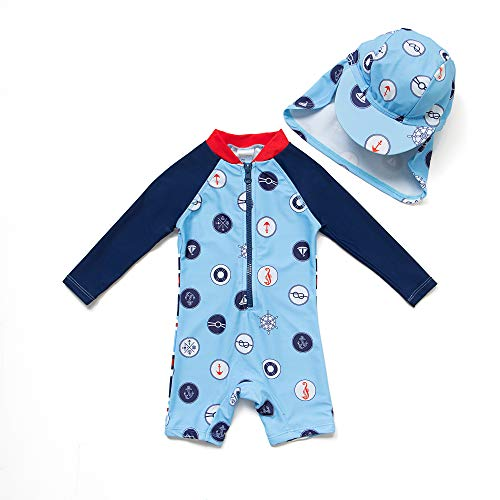 BONVERANO Baby Junge EIN stück Langärmelige-Kleidung UV-Schutz 50+ Badeanzug MIT Einem Reißverschluss, Blau-welle Punkte, 74-80