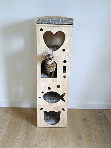 Rosewood 40151 Stylischer Und Moderner Katzenturm Aus Holz Mit Kissen, Aus Filz Und Sisal