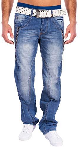 Jeans para Hombres con Tachuelas Razor ID1329 Azul Claro, Color:Azul Claro, Talla de pantalón:W30 (Ropa)
