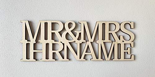 DRYSSON Hochzeit Dekoration individuell Brautpaar Name Mr and Mrs Holzbuchstaben Buchstabe Deko Hochzeitsdekoration Tischkarten
