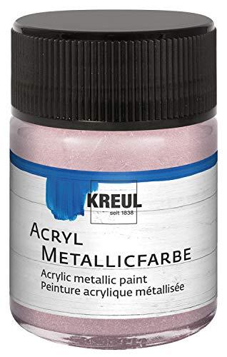 Kreul 77586 - Pintura acrílica metalizada, 50 ml, cristal en oro rosado metálico, glamuroso pintura acrílica con efecto metálico a base de agua, cremosa opaca, secado rápido y resistente al agua