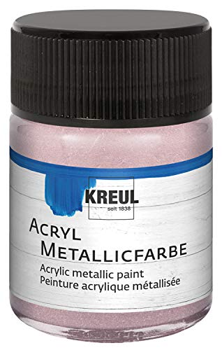 Kreul 77586 - Acryl Metallicfarbe, 50 ml Glas in metallic roségold, glamouröse Acrylfarbe mit Metalliceffekt auf Wasserbasis, cremig deckend, schnelltrocknend und wasserfest