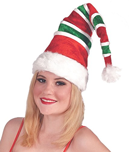 Forum Novelties Red & Green Striped Santa Unisex Costume Hat