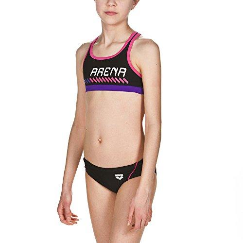 arena Mädchen Sport Bikini Sumo (Schnelltrocknend, UV-Schutz UPF 50+, Chlor-/Salzwasserbeständig), Black-Fresia (509), 152