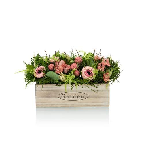 OF Kunstblumenarrangement mit viel Grün und verschiedenen Blumen in Einer dekorativen Holzkiste