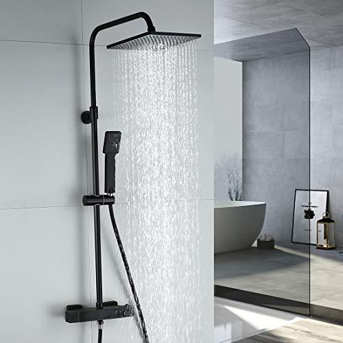 ARCORA Duschsystem mit Thermostat, Duschset Schwarz Regendusche Eckig Duschgarnitur Duschsäule Duscharmatur mit Handbrause, Duschstange aus Edelstahl, Thermostatventil aus Kupfer für Bad