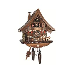 Engstler Quartz Cuckoo Clock Black Forest house with moving beer drinker and mill wheel, with music EN 471 QMT