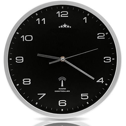 Monzana Wanduhr Funk Ø 31 cm Groß Silber Schwarz Automatische Zeitumstellung Geräuscharm Modern - Funkuhr Funkwanduhr Uhr
