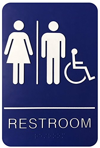 Corko Signs Unisex Braille Restroom Sign - Blue Bathroom Sign with Double Sided 3M Tape