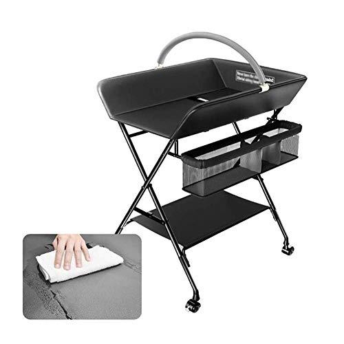L.TSA Tables à Langer Table à Langer Pliable avec Accessoires de Rangement pour bébé | Pad en PU et Tuyau en Acier | Noir