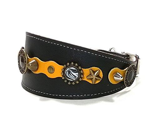 Superpipapo Windhund-Halsband, Handmade Schwarz Leder Halsband Design für Windhund, Galgo, Whippet, Gelb Schwarz Glänzend Silber Leder mit Luxus Deko Steine, 45 cm: Halsumfang 33-38 cm, Breit 55mm