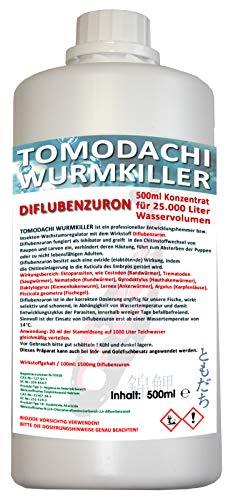 Wurmmittel Diflubenzuron Antiwurm Mittel Koiteich Gartenteich Tomodachi Wurmkiller gegen Würmer Karpfenläuse Fischegel Chitin Inhibator 500ml Konzentrat für 25.000L Teichvolumen