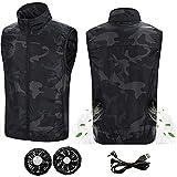 LLJJP Hommes Femmes Air conditionné Vêtements Ventilateur de Refroidissement Vest sans Manches,USB Veste de Protection Solaire à Chargement (Color : Camouflage, Taille : XXXX-Large)