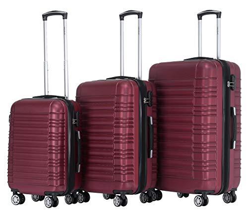 BEIBYE Hartschalen Koffer Trolley Rollkoffer Reisekoffer Zwillingsrollen Kofferset (Weinrot, Set)