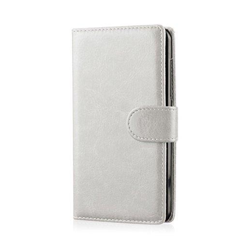 32nd PU Leder Mappen Hülle Flip Case Cover für ZTE Blade L3, Ledertasche hüllen mit Magnetverschluss und Kartensteckplatz - Weiß