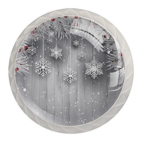 Pomos Para Armario Copos de nieve colgantes 4x estilo magnífico gabinete de Redondo perillas tire manijas para muebles armario cajón armario cocina baño 35mm (Blanco)