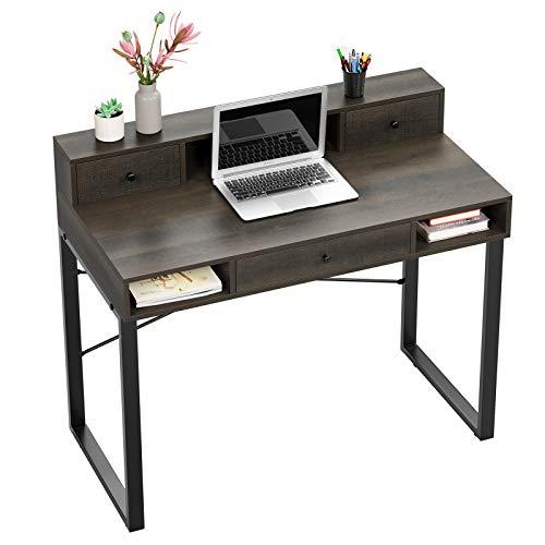 HOMECHO Mesa de Ordenador con 3 Cajones Escritorio de Computadora para Estudiar Trabajar, y Jugar Mesa de PC con Estante Estilo Vintage 107x54x93cm