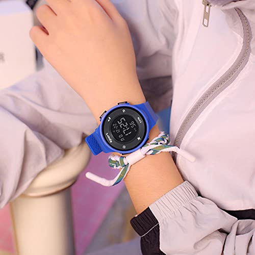 Relojes Niña,Reloj electrónico Masculino High School Students Simple Tendencia Mujer Mujer NATIVA A Prueba de Agua Reloj de Alarma multifunción multifunción-Azul Profundo