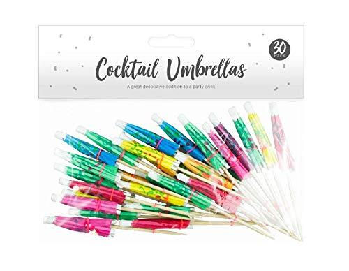 JJA Cocktail-Schirm, 30 Stück, Bambus-Cocktailstäbchen, bunte Regenschirme, geeignet für Pina Colada, Limonadengetränke, für Grill, Garten, Sommer, Tiki, Hawaiianische Party-Dekoration