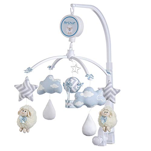Móbile Berço Bebê Musical E Giratório Ovelinha Azul