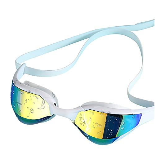 YWSZY Gafas Natacion, Gafas de natación Profesional de galvanoplastia Ajustables y Mujeres Anti-Niebla UV Impermeable de Silicona Gafas de natación (Color : White)