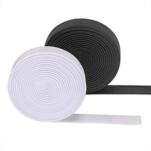 Penta Angel 1' Sewing Elastic Bands 11 Yards Black and White Knit Elastic Spool Stretch Cord Belt for DIY Art & Craft Project (2.5cm)