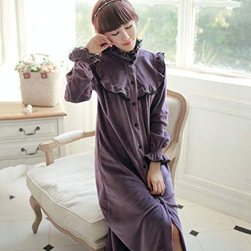 JYDQM Accappatoio Invernale Donne Lunghe Camicia da Notte Robe Vintage Princess Robe Spa Robes Lounge Suits Pajama...