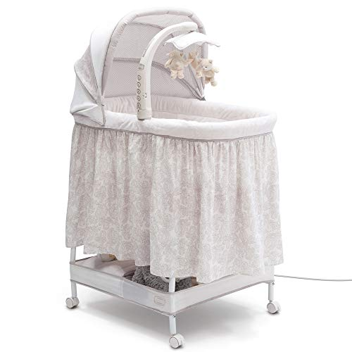Simmons Kids Deluxe Hands-Free Auto-Glide Bedside Bassinet - Portable Crib Features Silent, Smooth Gliding Motion That Soothes Baby, Embossed Paisley