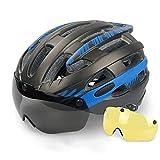 Casco De Adulto,Casco Bicicleta,Certificado CE Casco De Bicicleta Para Hombre Lente De PC De Gafas Magnéticas Ranura De Guía De Aire De 25 Orificios Forro Extraíble Para Facilitar La Limpieza