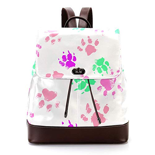 Casual PU Leather Backpack for Men, Women's Shoulder Bag Students Daypack for Travel Business College Colored Paw Prints