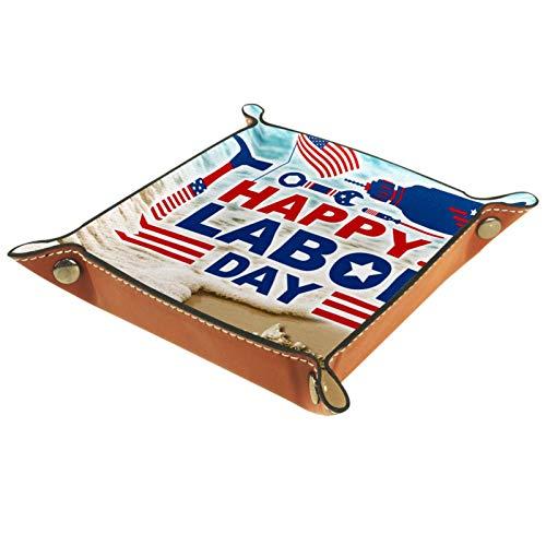YATELI Caja de Almacenamiento pequeña, Bandeja de Valet para Hombre,Bandera Americana Taburete Ondas de Playa y Estrellas de mar,Organizador de Cuero para Llaves de Caja de Monedas