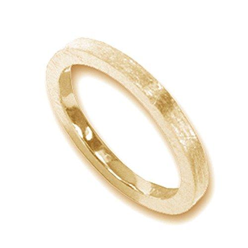 Silberring vergoldet hochwertige Goldschmiedearbeit aus Deutschland (Sterlingsilber 925) 2 mm breit - Vorsteckring - Damenring - Herrenring - Partnerring - Bandring - Beisteckring