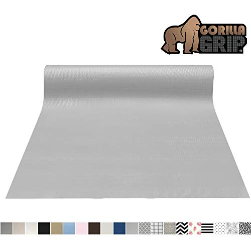 Gorilla Grip Original Smooth Top Slip-Resistant Drawer and Shelf Liner, Non Adhesive Roll, 20 Inch x 10 FT, Durable Kitchen Cabinet Shelves Liners for Kitchens Drawers and Desks, Light Gray