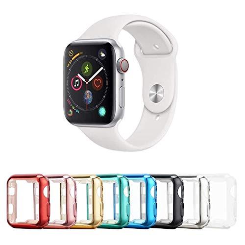 Tranesca - Custodia per Apple Watch con custodia protettiva ultra sottile in TPU per Apple Watch Series 4/5/6 e Apple Watch SE 44mm (trasparente+nero+oro+rosa+rosso+blu+verde+argento)