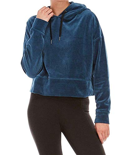 Calvin Klein Performance Womens Velour Cropped Sweatshirt Blue XL