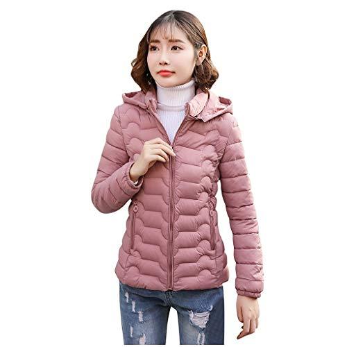 Xmiral Steppjacke Damen Einfarbig Slim Fit Reißverschluss Mantel mit Kapuzen Herbst Winter Warm Gepolstert Bikerjacke Motorradjacke Große Größe(Rosa,4XL)