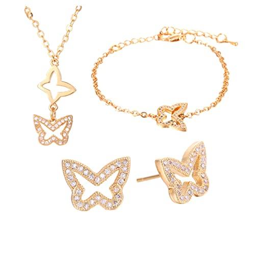 Happyyami 1 Juego de Mariposas de Joyería Temática Conjunto Chic Collar Pulsera Pendientes (Dorado)
