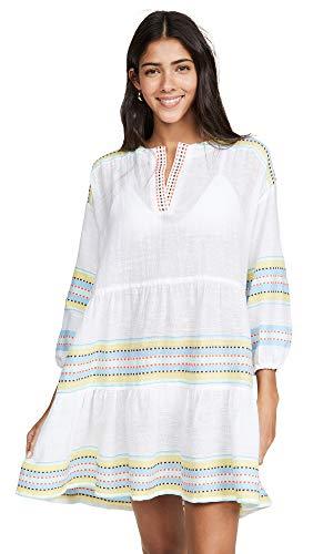 Mel Lemlem Women's Welela Popover Dress, Cornsilk, Off White, Stripe, Large