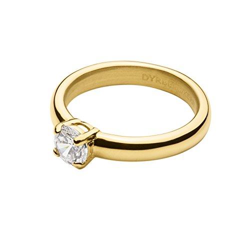 Nucleo Dyrberg/Donna-Anello accatastamento 16/01 Maia Iiii SG Crystal in Acciaio Inox Placcato Oro con zirconi Solitario Parte Trasparente Misura 60 (19,1) - 339922