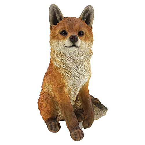 Garden and Home Decor - Realistic Fox Woodland Polyresin Statue - Hand Painted Figurine - Intricate Detail Suitable for Indoor or Outdoor Use - Frost and Fade Resistant Animal Lawn Ornament (Sitting)