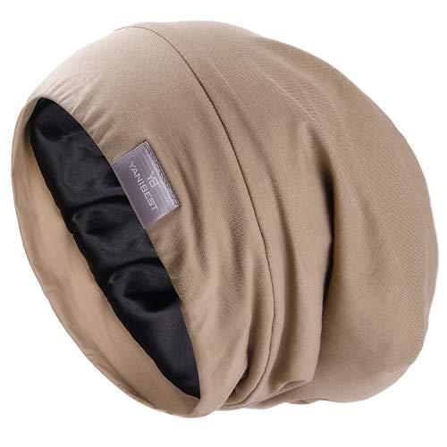 YANIBEST Silk Satin Bonnet Hair Cover Sleep Cap - Khaki Adjustable Stay on Silk Lined Slouchy Beanie Hat for Night Sleeping