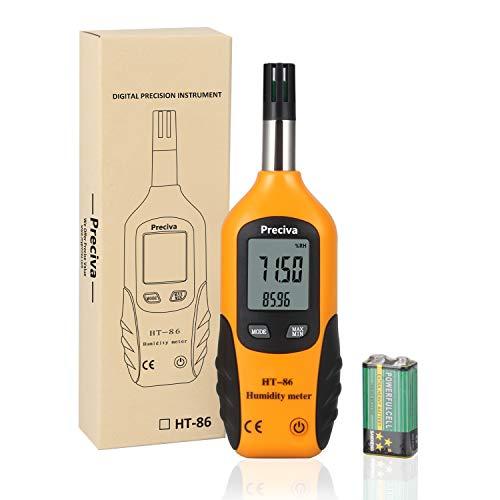 Preciva Digital Psychrometer Thermo-Hygrometer, LCD Mini Temperature and Humidity Meter with Dew...