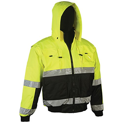 Brite Safety Style 5025 Hi Vis Hoodie Bomber Jacket | Reversible Safety Jackets For Men or Women | Waterproof, Breathable : 2-Tone | ANSI Class 3 Compliant (L, Hi Vis Yellow)