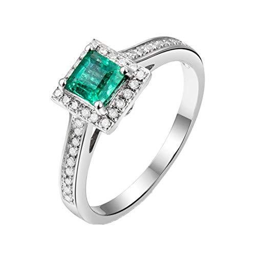 Daesar Anillos Compromiso Mujer Oro Blanco 18K,Cuadrado Esmeralda Verde 0.51ct Diamante 0.21ct,Plata Verde Talla 8