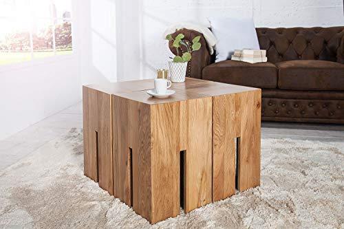 Licht-Erlebnisse Eckiger Beistelltisch Holz Eiche massiv 30x45x30cm Unikat Holzblock Couchtisch Hocker Ablage ROLIA