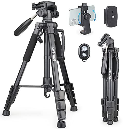Trípode para cámara Artcise, trípode de Viaje Flexible, Compacto y portátil con Cabezal panorámico y Soporte para teléfono móvil para cámaras DSLR, teléfono móvil Canon Nikon Olympus Sony DV Video