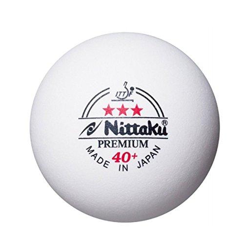 NITTAKU Tischtennisbälle Plastikball Premium 3 Stern Weiss 40+ ITTF, (6 Stücke), original und neu